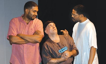 """It's a lock: (left to right) David Conly, Jeff David Miller and Ezra Leslie Smith star in Wali Jamal's """"Holding Cell,"""" at the Theatre Festival in Black and White."""