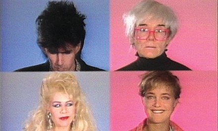 It's the story ... of a man named Warhol: (clockwise from upper left) Ric Ocasek, Andy Warhol, Susan Hess and Dianne Brill in the 1985 pilot for Andy Warhol's Fifteen Minutes. - IMAGE COURTESY OF THE ANDY WARHOL MUSEUM.