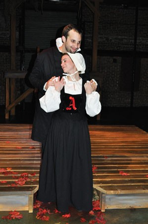 Ivy Steinberg and Justin Fortunato in The Scarlet Letter, at Prime Stage.