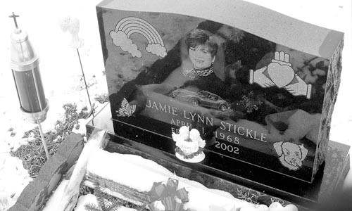 Jamie Stickle's gravesite on another snowy February four years ago.