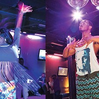 "Jasmine Taylor, a.k.a. ""Jasmine Elite,"" and ""Foxxie Revlon"" take the stage at a June 4<sup> </sup>kiki ball sponsored by the Pittsburgh AIDS Task Force."