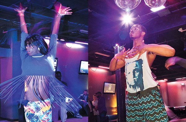 """Jasmine Taylor, a.k.a. """"Jasmine Elite,"""" and """"Foxxie Revlon"""" take the stage at a June 4 kiki ball sponsored by the Pittsburgh AIDS Task Force."""