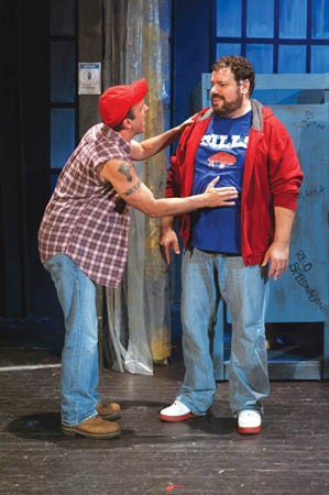 Jason Swauger (left) and Rob James in The Full Monty, at Stage 62 - FULL MONTY PHOTO COURTESY OF FRIEDMAN WAGNER-DOBLER