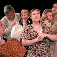 Jenna Oberg (front) heads the cast of <i>And a Nightingale Sang</i>.
