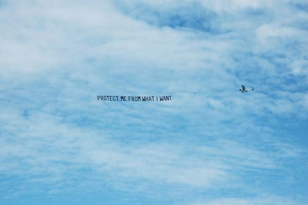 Jenny Holzer's contribution to a text-based public-art series titled Plane Text, at Art Basel Miami Beach