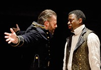 Jeremy Kushnier (left) Teagle F. Bougere in Pittsburgh Public Theater's Othello - PHOTO COURTESY OF PITTSBURGH PUBLIC THEATER