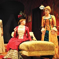 Jessica Frances Dukes, Melinda Helfrich and Megan McDermott in PICT's <i>In the Next Room or the Vibrator Play</i>.