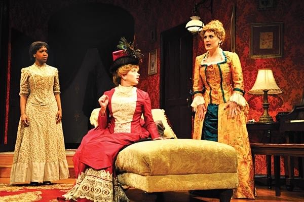 Jessica Frances Dukes, Melinda Helfrich and Megan McDermott in PICT's In the Next Room or the Vibrator Play.