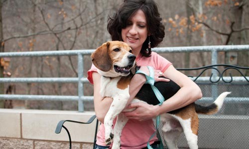 Jolene Miklas, director of communications at Animal Friends, with Webster - CAROLINE MOORE