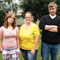 Josh Miller's ex-wife, Brandi Mangus (center), with their two children, Caitlyn and Josh, Jr. Miller