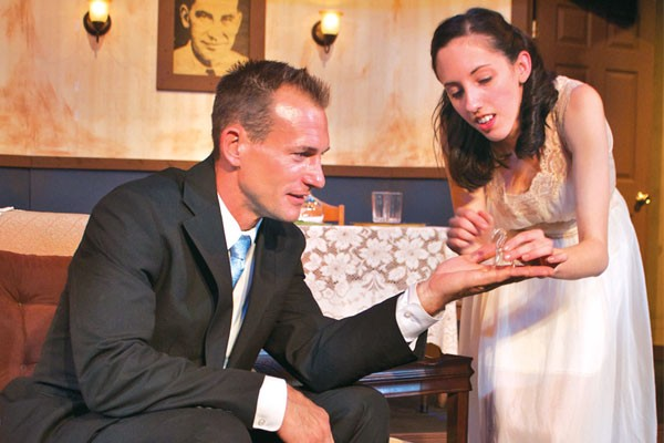 Joshua Milan and Hannah Brizzi in Theatre Factory's The Glass Menagerie.