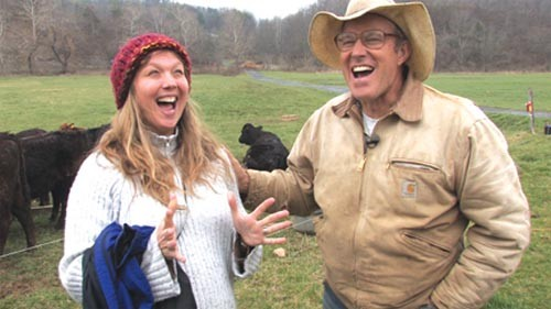 Julie Evans with Joel Salatin in YERT