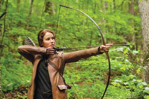 Katniss (Jennifer Lawrence): Her aim is true.