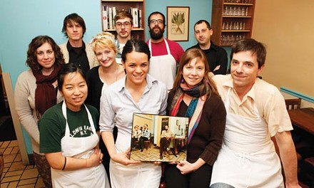 Keepin' it local: Legume owners Sarah and Trevett Hooper, bottom right, with staff - HEATHER MULL