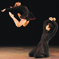 "Kenny Corrigan and Kali Grinder of the Conservatory Dance Company in Christoper Huggins' ""Enemy Behind the Gates."""