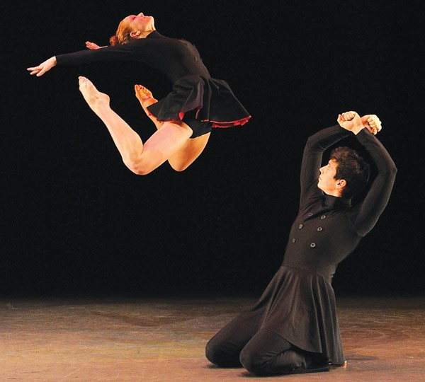"""Kenny Corrigan and Kali Grinder of the Conservatory Dance Company in Christoper Huggins' """"Enemy Behind the Gates."""""""