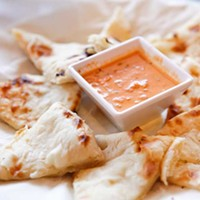Biryani Kids naan pizza with masala sauce Photo by Heather Mull