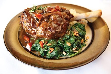 Lamb shank with sauted spinach - PHOTO BY HEATHER MULL