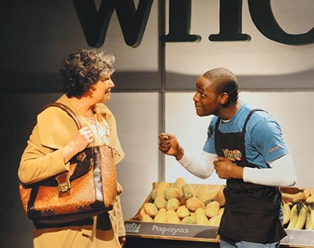 Laurie Klatscher and David Anthony Berry in the REP's Lost Boy Found in Whole Foods. - PHOTO COURTESY OF DREW YENCHAK.