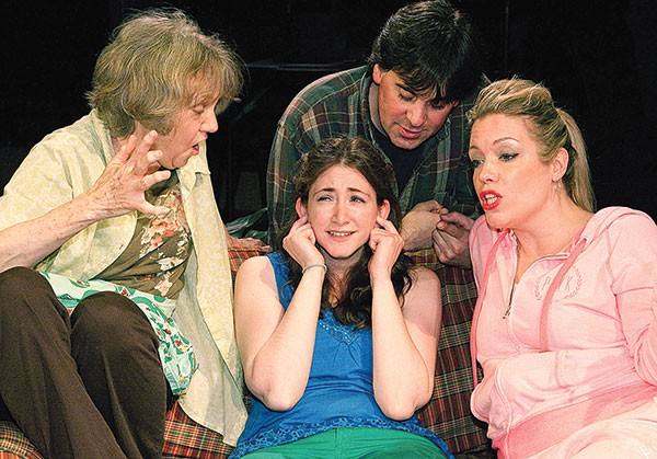 Left to right: Martha Bell, Liz Roberts, Gregory Caridi and Jennifer Sinatra in Little Lake's Miracle on South Division Street