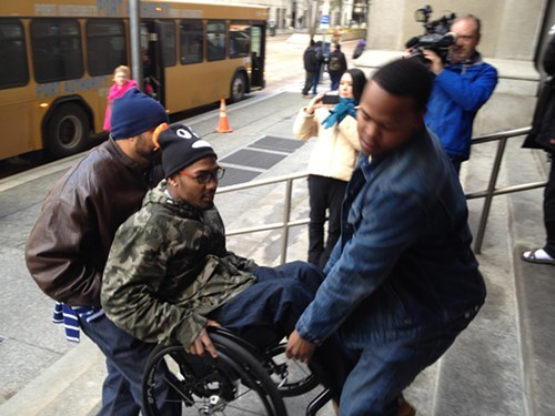 Leon Ford is shown entering the City-County building in 2013 to attend a protest held on his behalf - PHOTO BY ALEX ZIMMERMAN