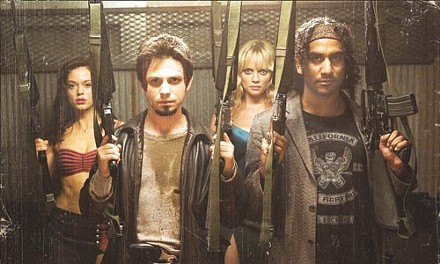 Let the zombie-fu begin: Rose McGowan, Freddy Rodriguez, Marley Shelton and Naveen Andrews get loaded.