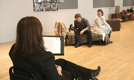 Making a scene: Brigden (foreground) watches Joseph Adams (left) and Chandler Vinton rehearse The Price. - HEATHER MULL