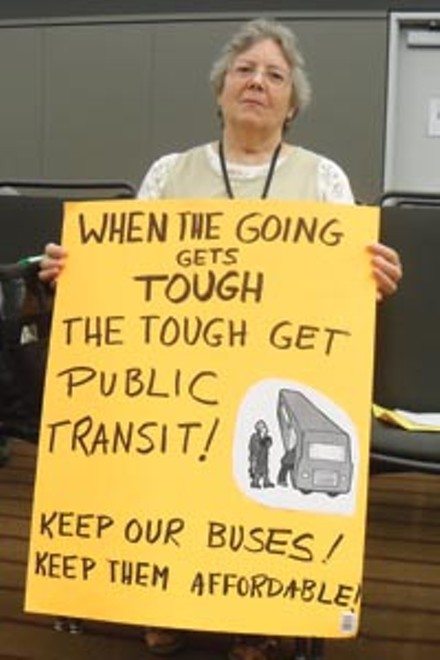 Marjorie DeAngelis, of Ambridge, is not a fan of Port Authority's cuts. - LAUREN DALEY