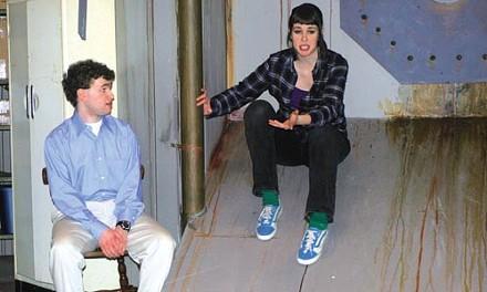 Matt Henderson and Lauren Michaels in Off the Wall's boom.