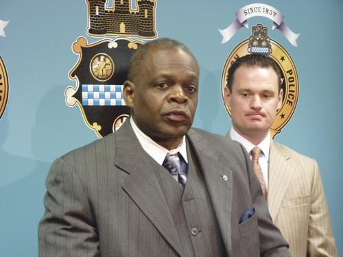 Mayor Luke Ravenstahl and Police Chief Nate Harper announce that the officers invovled in the Jordan Miles incident would return to work. - PHOTO BY LAUREN DALEY