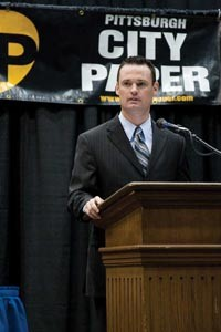 Mayor Luke Ravenstahl at the Oct. 11 political debate co-sponsored by City Paper. - PHOTO: BRIAN KALDORF