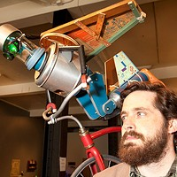 Meet Your Maker: Toby Fraley (right, with beard) and one of his creations at Space gallery