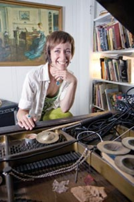 """Melissa St. Pierre - Years in Pittsburgh: 1.5 - Primary instrument: Piano - Musical style: """"My new thing is recording samples on the prepared piano and inputting them to an Oxygen 8 synthesizer, which is much handier for touring."""" - Musical influences: Birds, trains, metals - What got you started in experimental music? """"I started playing experimental and jazz music in middle school after I heard Thelonious Monk and Tony Conrad on college radio."""" - What types of events do you prefer to play/put on? """"A street corner, a Laundromat, a basement gallery, someone's warehouse ... you tell me."""" - Upcoming activities: """"We'll be putting together some kind of record-release shows for Technical Drawings later this year; we have a vinyl-only release coming out on a German electronica label, Gagarin, and inclusion on The Wire Tapper [compilation] in April. """" - Web site: melissastpierre.bandcamp.com or www.myspace.com/melissastpierre"""