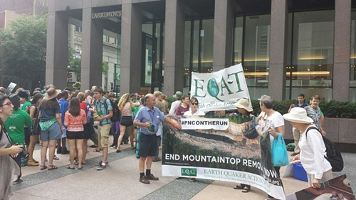 Members of the Earth Quaker Action Team protesting PNC Bank in July - PHOTO BY CHARLIE DEITCH