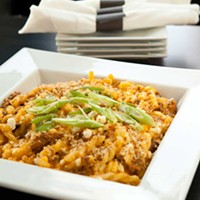 BZ Mexican mac & cheese with chorizo, goat cheese and green onions Photo by Heather Mull