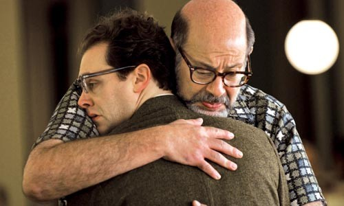 Michael Stuhlbarg (left) and Fred Melamed hug it out.