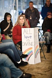 Michele Feingold of Squirrel Hill shows her support for a proposed countywide anti-discrimination ordinance during a Jan. 10 rally at Schenley Plaza in Oakland.