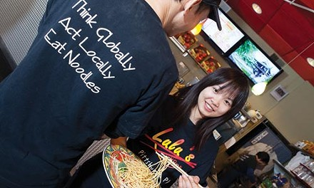 Mike and Scarlet Chen help dish up local, global noodles. - RENEE ROSENSTEEL