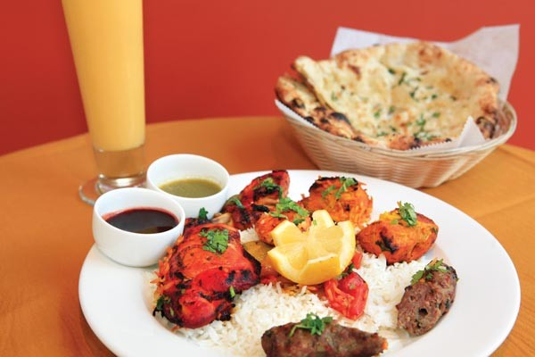Mixed tandoori platter, with a mango lassi and garlic naan