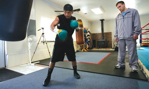 Monty Meza-Clay, with trainer Tommy Yankello, is hoping to fight this spring after a controversial TKO Jan. 29.