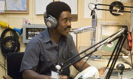 Most of all, no signifying: Petey Greene (Don Cheadle) signs off.