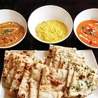 <i>Navratan korma</i>, <i>chayote dal</i>, chicken <i>tikka masala</i> with plain and garlic <i>naan </i>