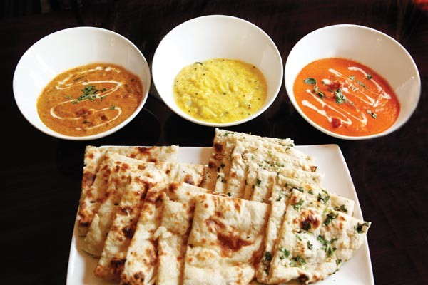 Navratan korma, chayote dal, chicken tikka masala with plain and garlic naan