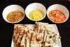 <i>Navratan korma</i>, <i>chayote dal</i>, chicken <i>tikka masala</i> with plain and garlic <i>naan </i>