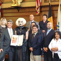 Needles accepting her city proclamation