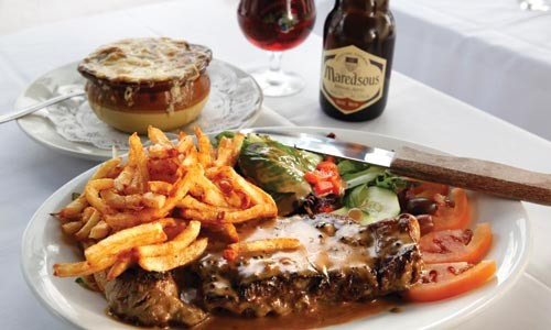 New York strip steak, with frites and onion soup - HEATHER MULL