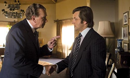 Nixon (Frank Langella) sizes up Frost (Michael Sheen)