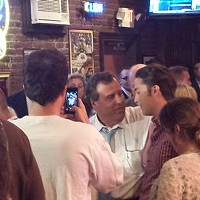 Protesters shout down Tom Corbett, Chris Christie at Primanti's campaign stop