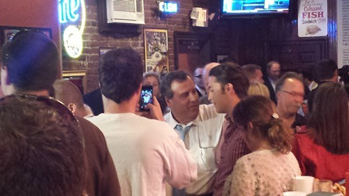 NJ Gov. Chris Christie meets with the crowd at Primanti Brothers