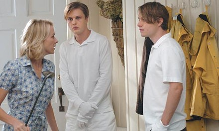 Not so funny: Naomi Watts confronts unwanted houseguests Michael Pitt and Brady Corbet.